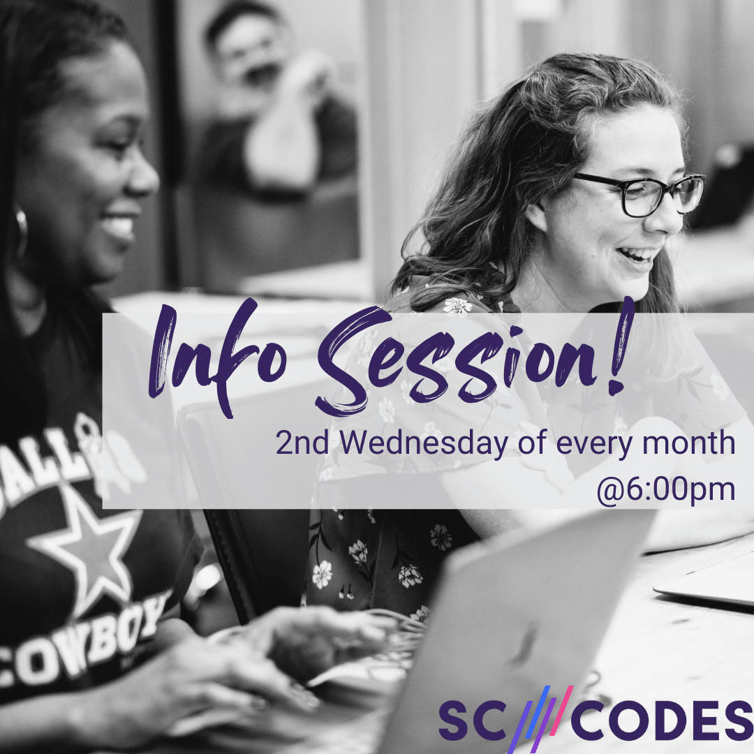 """Two women working on laptops with text overlay that says """"Info Session; 2nd Wednesday of every month at 6:00pm"""""""
