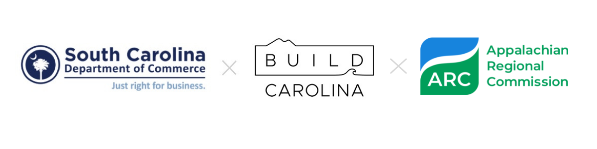 logos for SC Department of Commerce, Build Carolina, & The Appalachian Regional Commission -